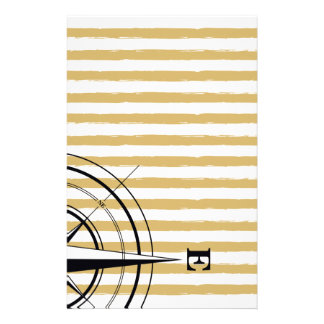 Nautical Compass NSEW Stripes Ivory Taupe Black Stationery