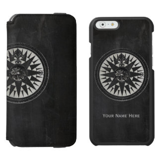 Nautical Compass on Black Chalkboard Incipio Watson™ iPhone 6 Wallet Case