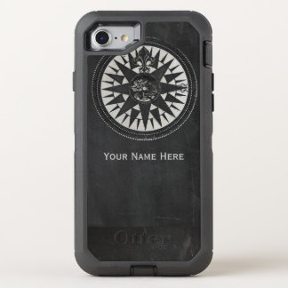 Nautical Compass on Black Chalkboard OtterBox Defender iPhone 8/7 Case