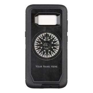 Nautical Compass on Black Chalkboard OtterBox Defender Samsung Galaxy S8 Case