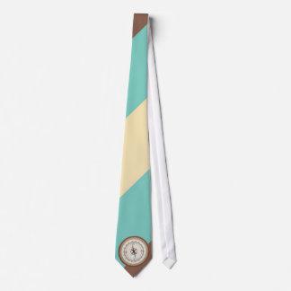 Nautical Compass On Vintage Retro Blue Cream Brown Tie