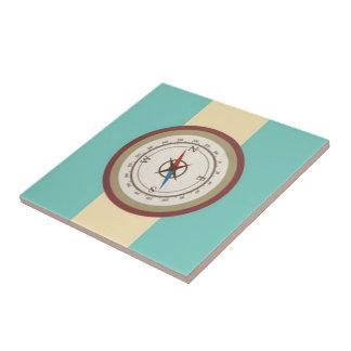 Nautical Compass On Vintage Retro Blue Cream Brown Tile