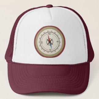 Nautical Compass On Vintage Retro Blue Cream Brown Trucker Hat