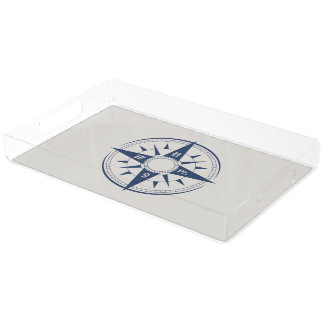 Nautical Compass Rectangle Acrylic Tray