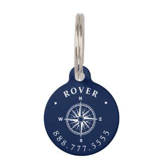 Nautical Compass Rose Custom Pet Name Tag