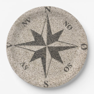 Nautical compass rose on gray granite 9 inch paper plate
