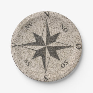 Nautical compass rose on grey granite 7 inch paper plate