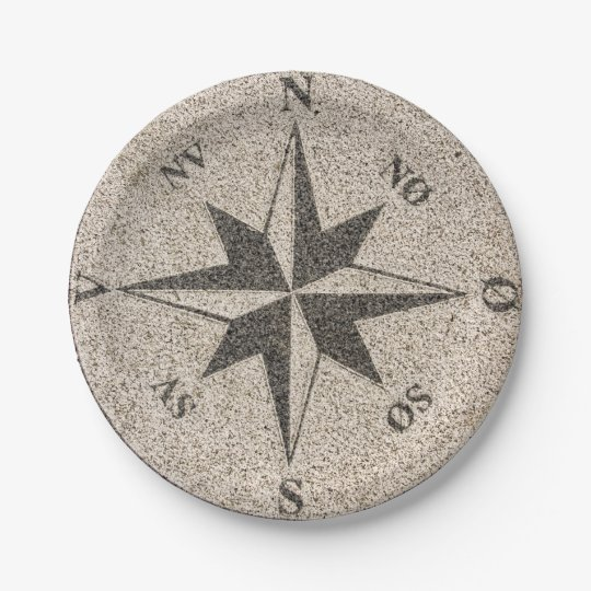 Nautical compass rose on grey granite paper plate