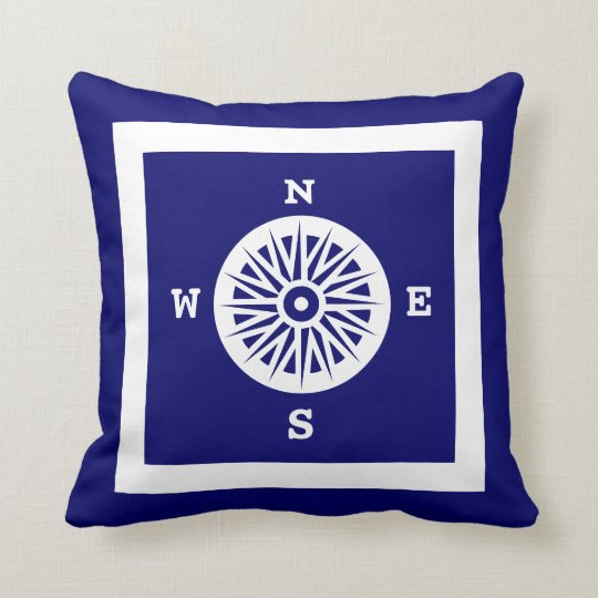 Nautical Compass Rose Throw Pillow