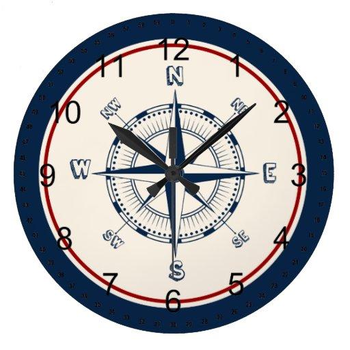 nautical compass wall clock zazzle