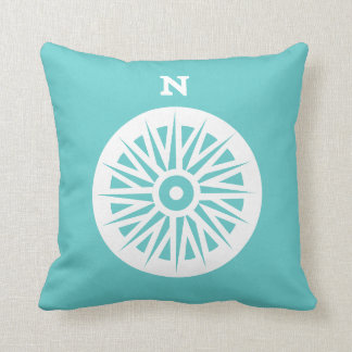 nautical compass white on teal blue pillow