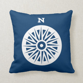 nautical compass white on teal soft navy pillow