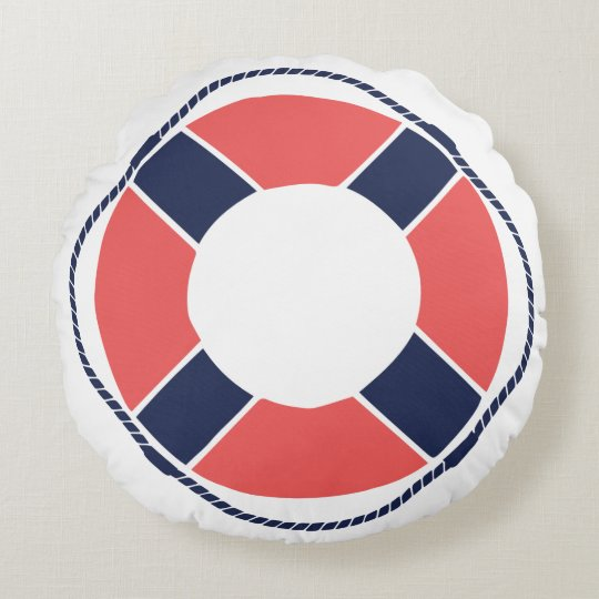 Nautical Coral Orange Navy Take the Helm Mate! Round Pillow