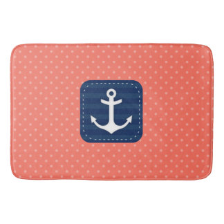 Nautical Coral Polka Dot Pattern Navy Blue Anchor Bath Mat