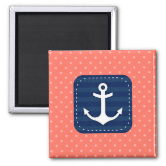 Nautical Coral Polka Dot Pattern Navy Blue Anchor Square Magnet