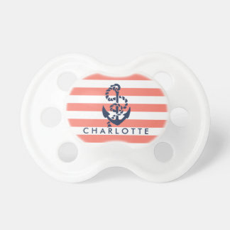 Nautical Coral Stripe Anchor Personalized Pacifier