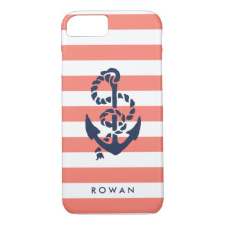 Nautical Coral Stripe & Navy Anchor Personalized iPhone 7 Case