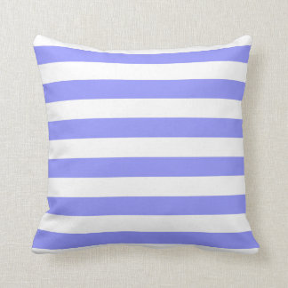 Nautical Cornflower Blue and White Striped Throw Pillow