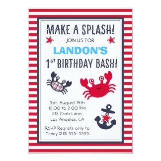 Nautical Crab & Anchor Boy's Birthday Invitation