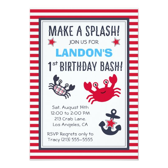 Nautical Crab & Anchor Boy's Birthday Invitation