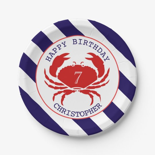 Nautical Crab Birthday Party 7 Inch Paper Plate