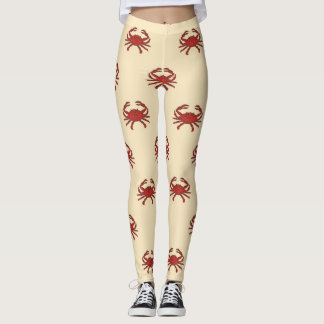 Nautical Crab Red Cream Illustration Leggings
