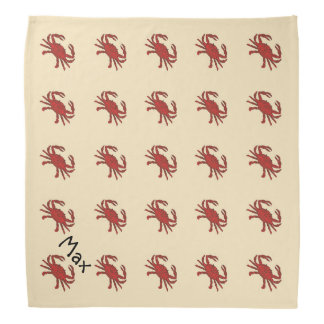 Nautical Crab Red Cream Pet Name Template Do-rags