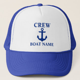 Nautical Crew Boat Name Anchor Blue Trucker Hat