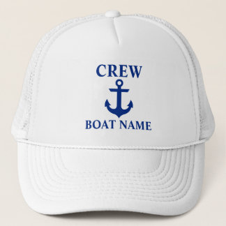 Nautical Crew Boat Name Anchor White Trucker Hat