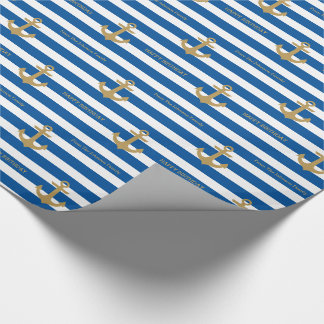 Nautical Custom Name Birthday Wrapping Paper