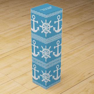 Nautical custom text & color wine gift box