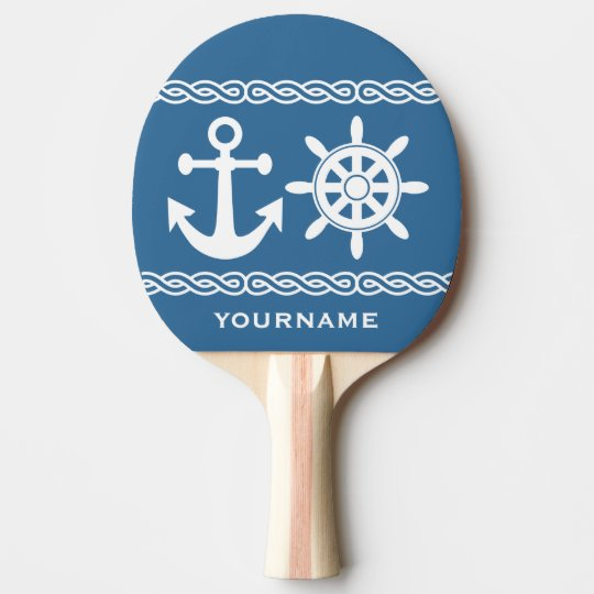 Nautical custom text & colour ping pong paddle