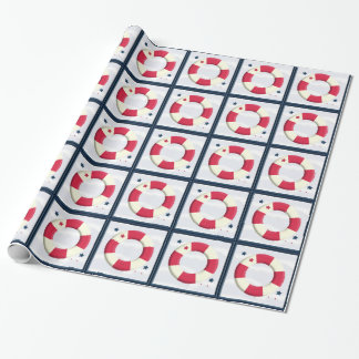 Nautical Cute Lifesaver Design Wrap Wrapping Paper