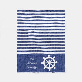 Nautical Dark Blue and White Stripes Fleece Blanket