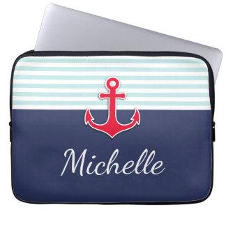 Nautical Dark Blue Red Design Custom Name Computer Sleeve