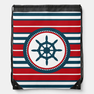 Nautical design drawstring bag