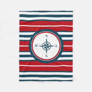 Nautical design fleece blanket