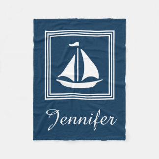 Nautical design fleece blanket