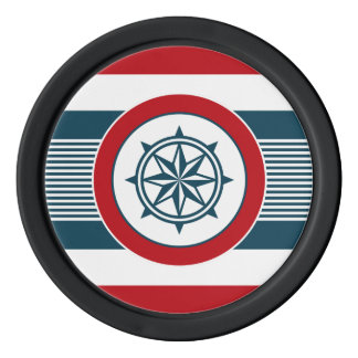 Nautical design poker chips