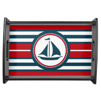 Nautical design serving tray