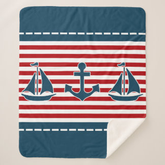 Nautical design sherpa blanket