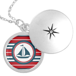 Nautical design silver plated necklace