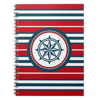Nautical design spiral notebook