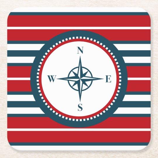 Nautical design square paper coaster