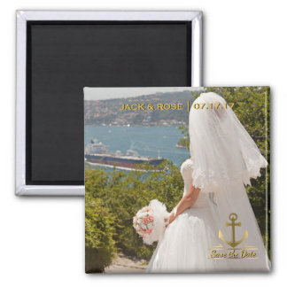 Nautical Destination Wedding Save the Date Gold Magnet