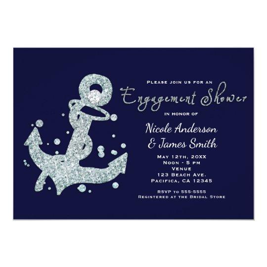 Nautical Diamond Anchor ENGAGEMENT Invitations