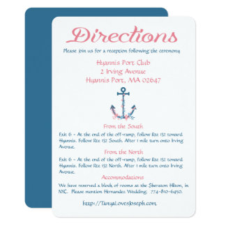 """Nautical Directions Blue And Pink Ship Anchor 5"""" X 7"""" Invitation Card"""
