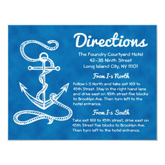 Nautical Directions Ship Anchor Blue Wedding Card