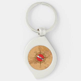 Nautical Dive Compass Keychain