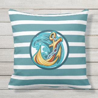 "Nautical Dk Teal Stripe Outdoor Pillow 20"" x 20"""